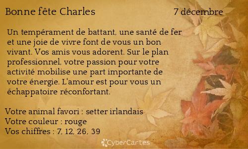Carte Bonne Fete Charles.Carte Bonne Fete Charles 7 Decembre
